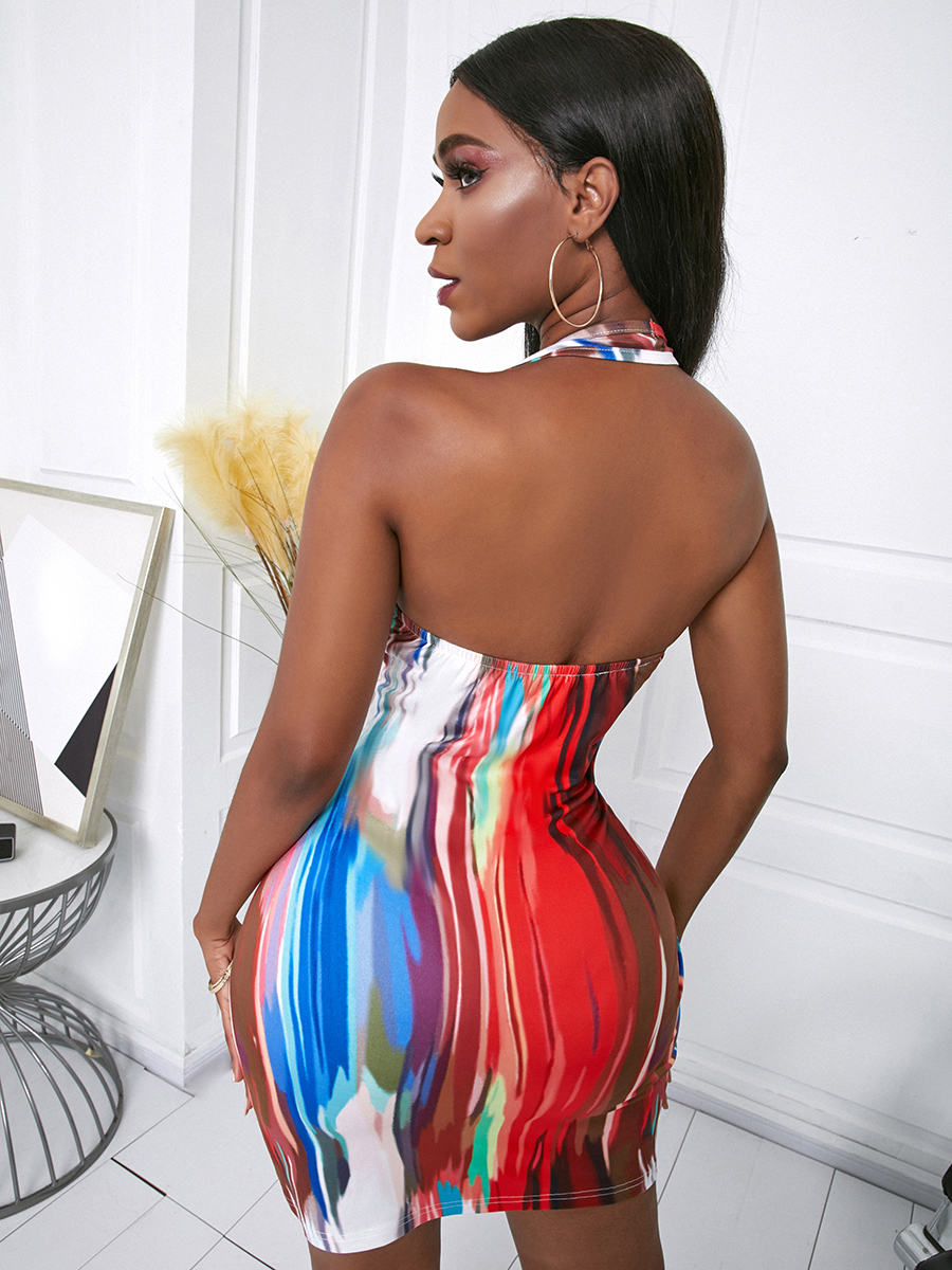 Lovely Sexy Off The Shoulder Tie-dye Multicolor Mini Dress