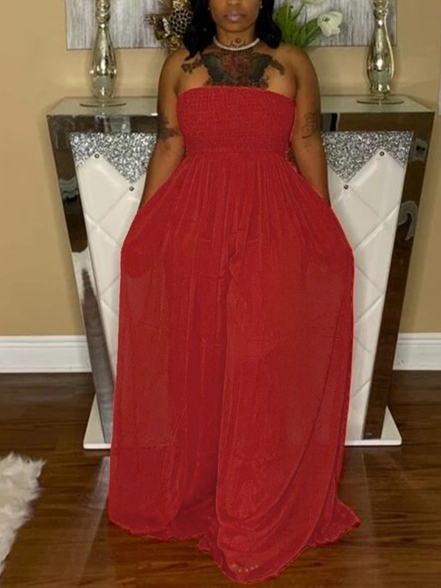 LW Casual Off The Shoulder Shirred Wide Leg Red One-piece Jumpsuit