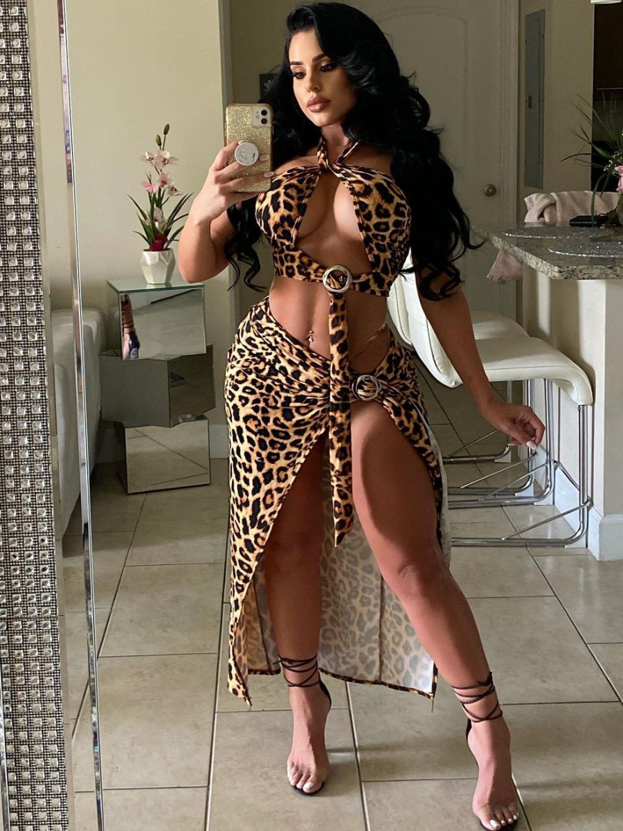 Lovely Sexy Leopard Print Bandage Hollow-out Design Brown Two Piece Skirt Set