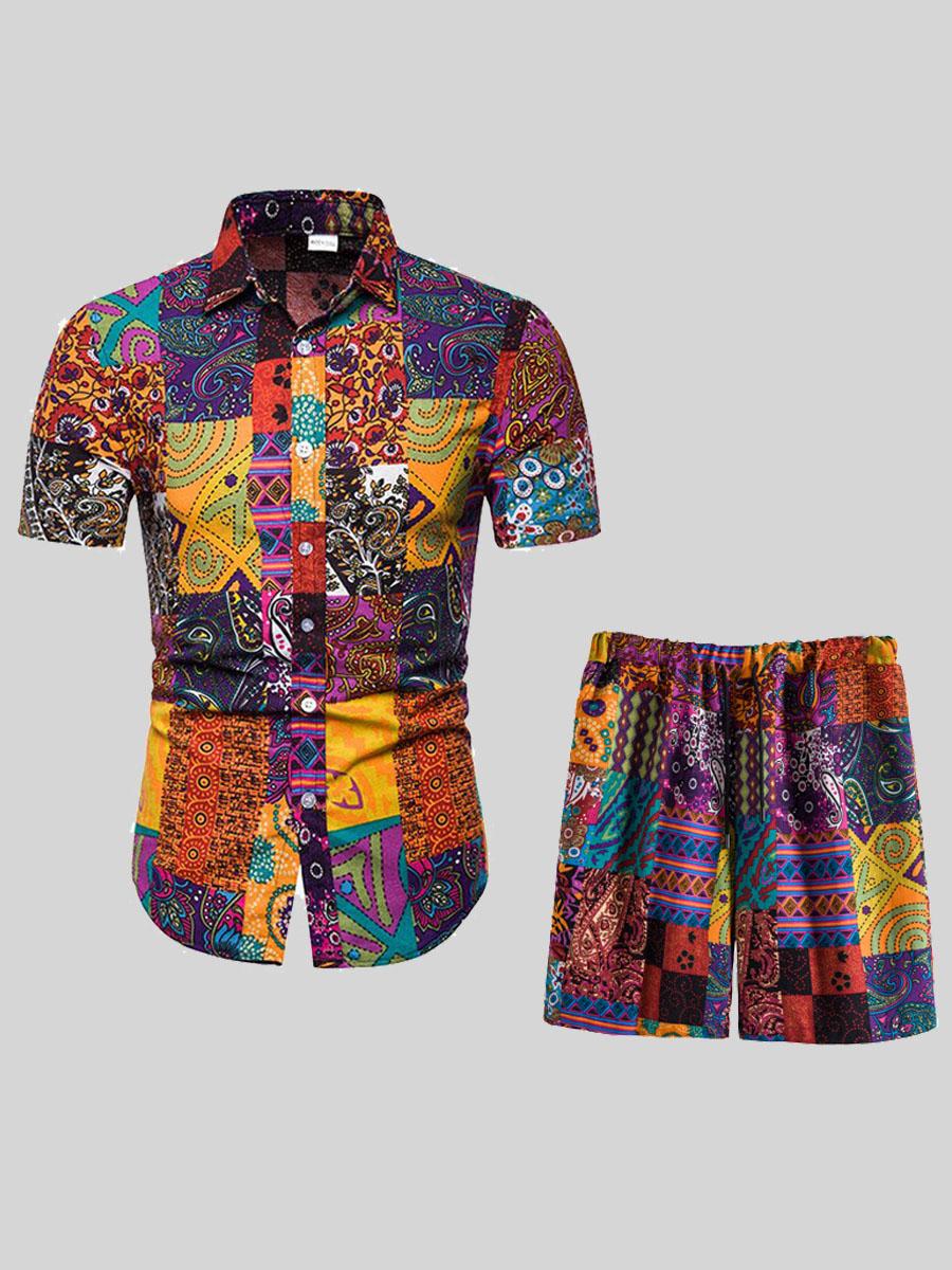 LW COTTON Men Boho Mixed Print Drawstring Multicolor Two Piece Shorts Set