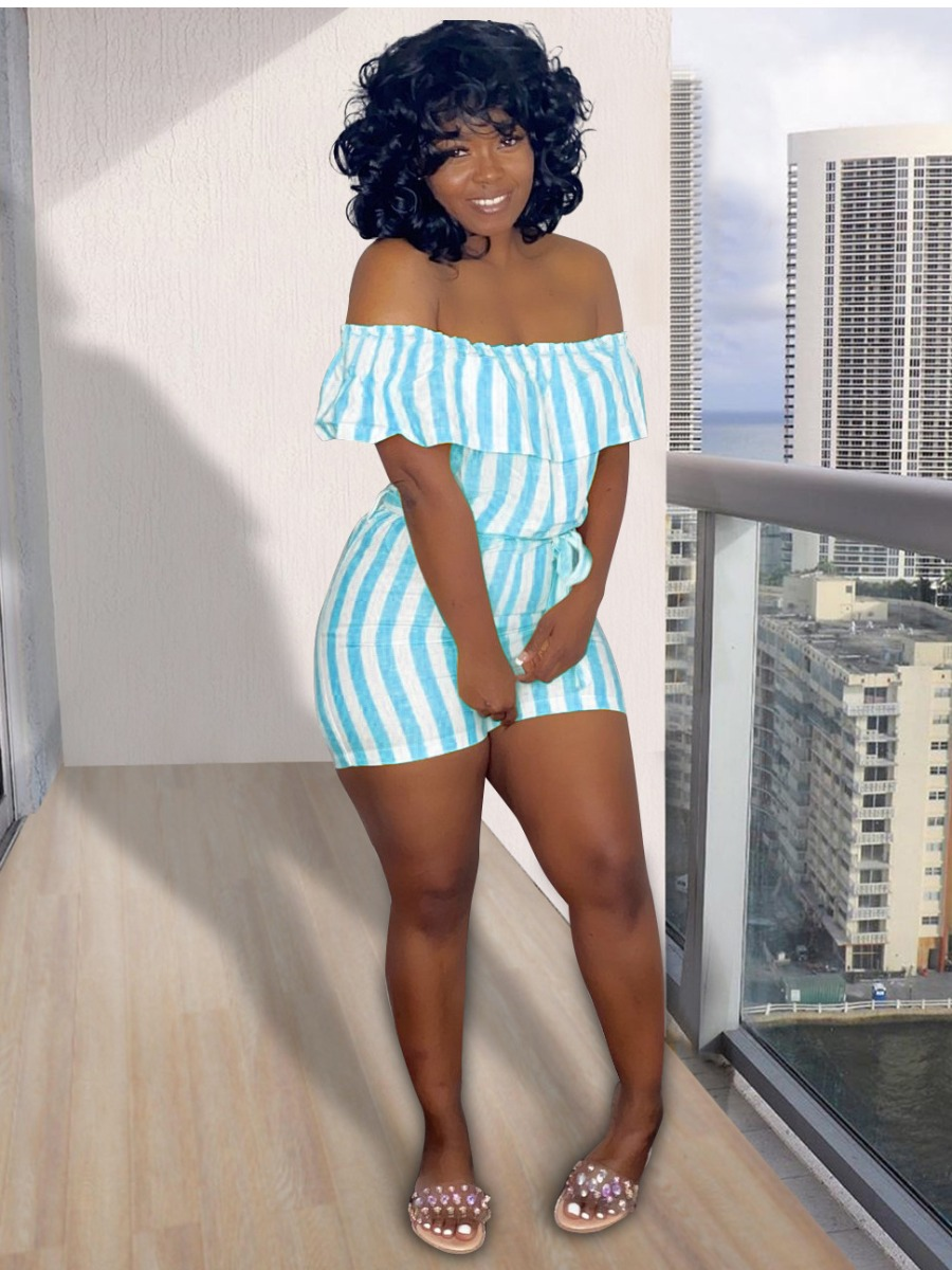 LW Sweet Off The Shoulder Striped Skyblue One-piece Romper
