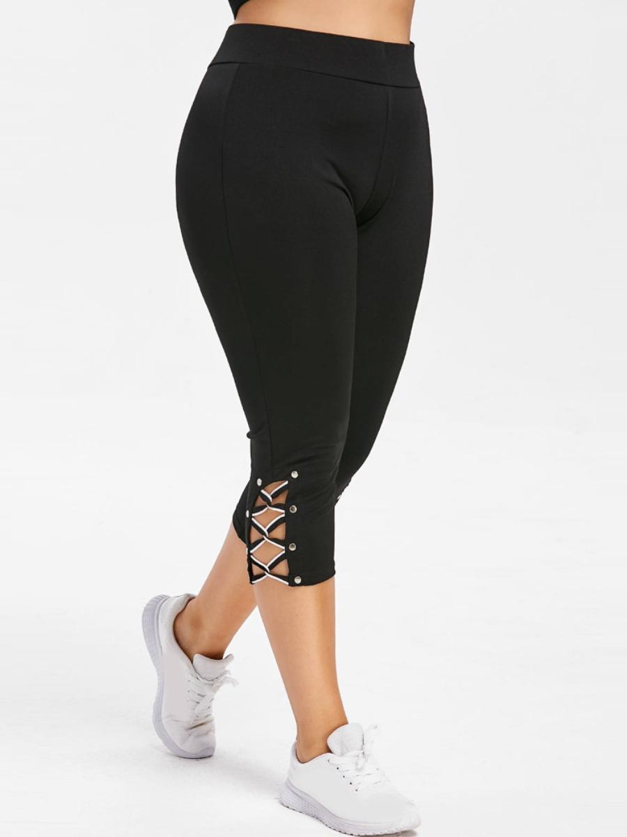 Lovely Plus Size Sporty Bandage Hollow-out Design Black Pants