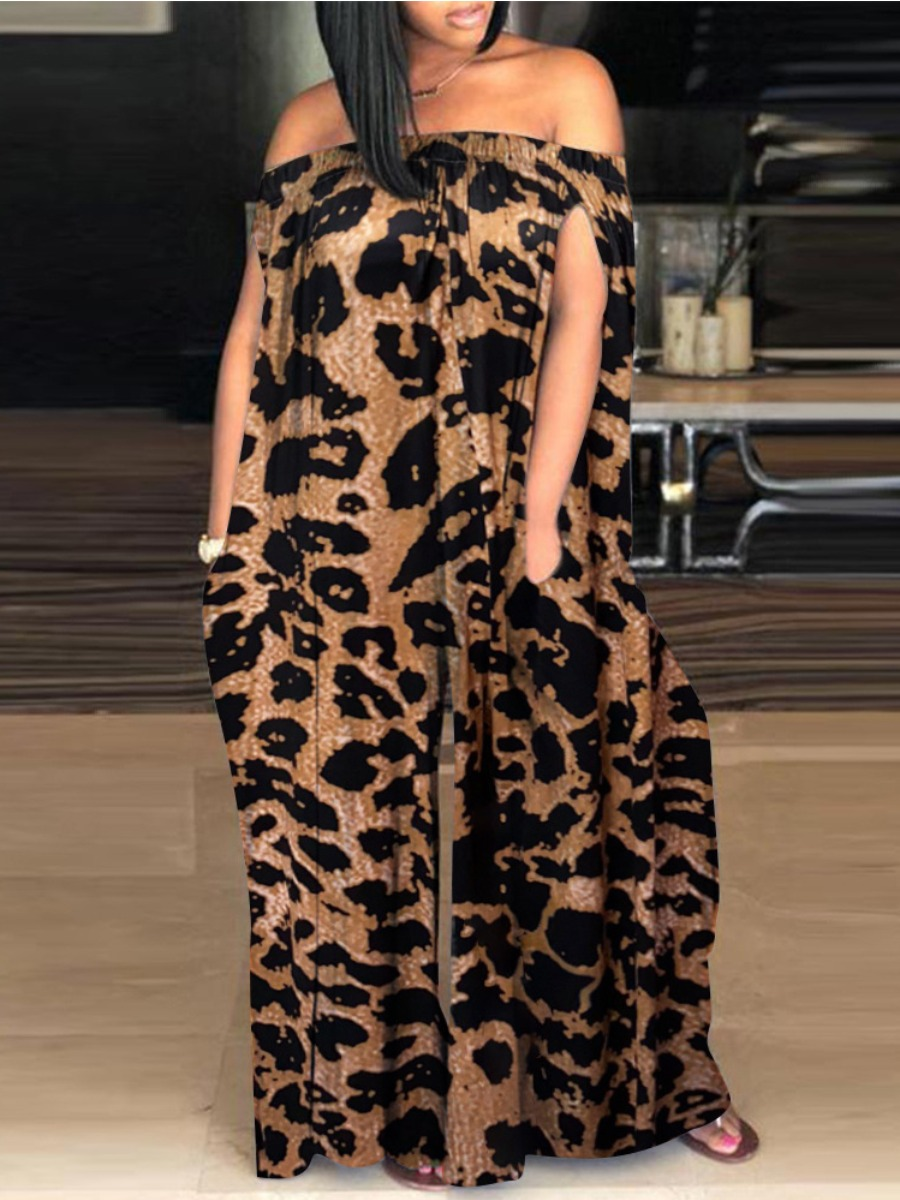 LW Plus Size Casual Off The Shoulder Leopard Print Wide Fit One-piece Jumpsuit, lovely, Plus Size Jumpsuit  - buy with discount