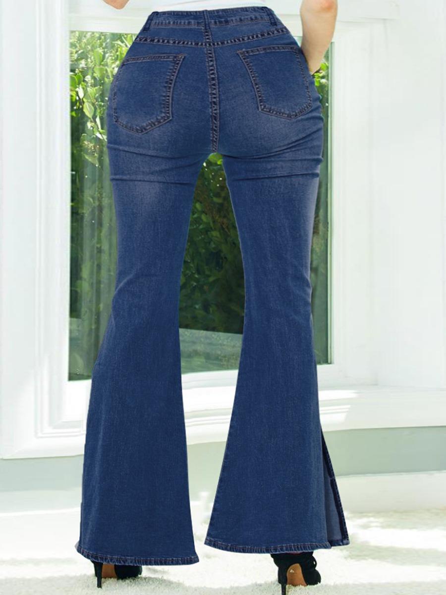 Lovely Plus Size Street Split Flared Deep Blue Jeans