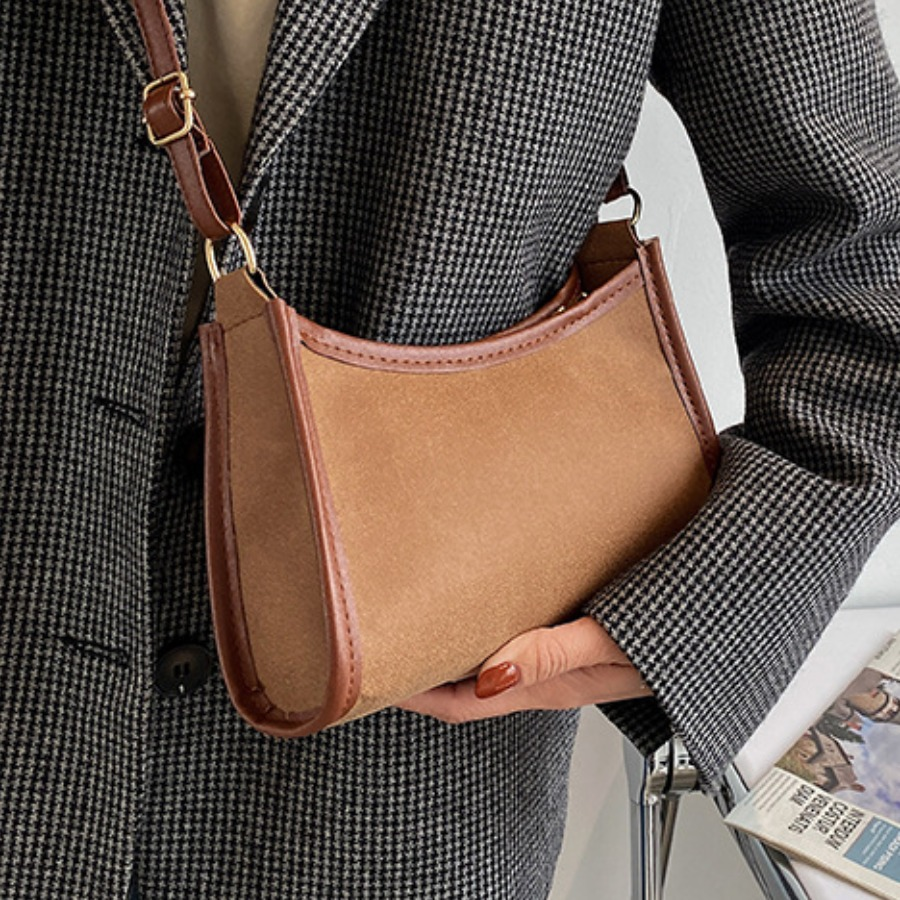 LW Casual Adjustable Strap Brown Crossbody Bag