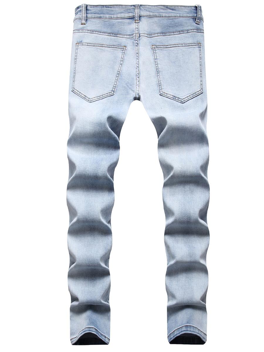LW Men Street Denim Mid Waist Letter Print Jeans