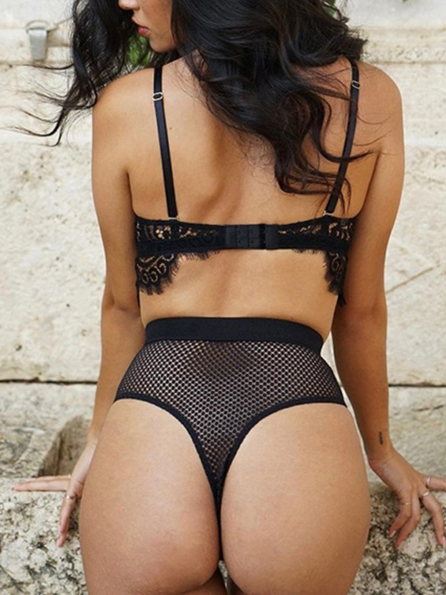 Lovely Sexy Lace High-waisted Black Secret Set