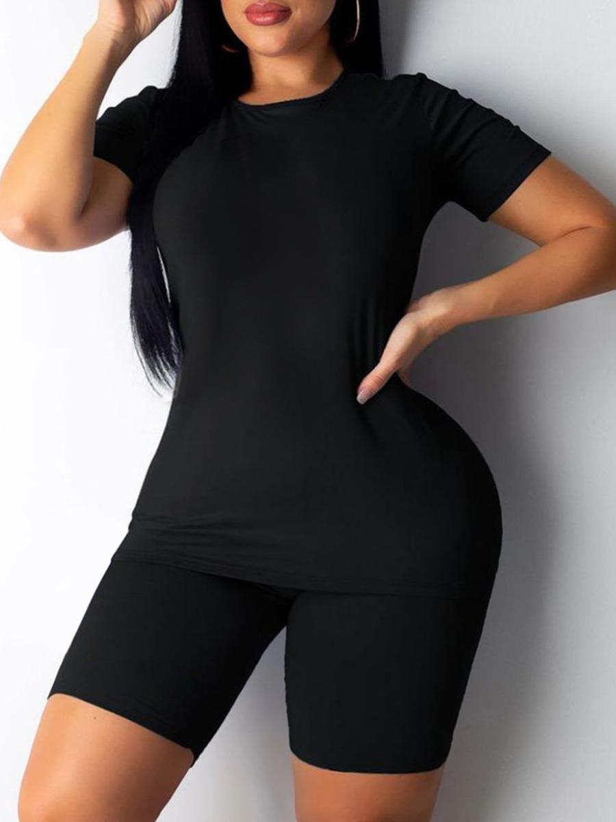 Lovely Plus Size Round Neck Elastic Two-piece Shorts Set