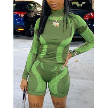 LW Sporty Turtleneck Color-lump Green Two Piece Shorts Set