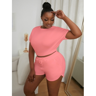 LW Plus Size Casual Round Neck Drawstring Pink Two-piece Shorts Set