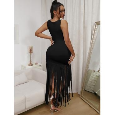 LW Casual Lip Print Tassel Design Black Mini Dress