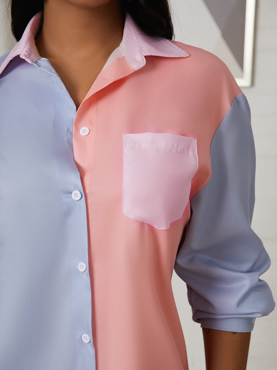 Lovely Casual Turndown Collar Color-lump Multicolor Mini Shirt Dress