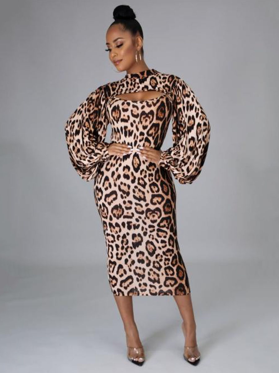 LW Leopard Print Hollow-out Ruffle Design Two Piece Skirt Set