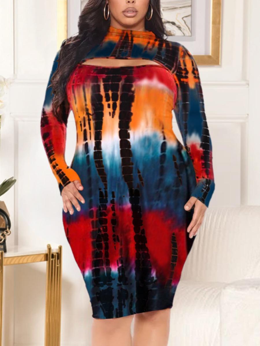 LW Plus Size Tie-dye Hollow-out Dress