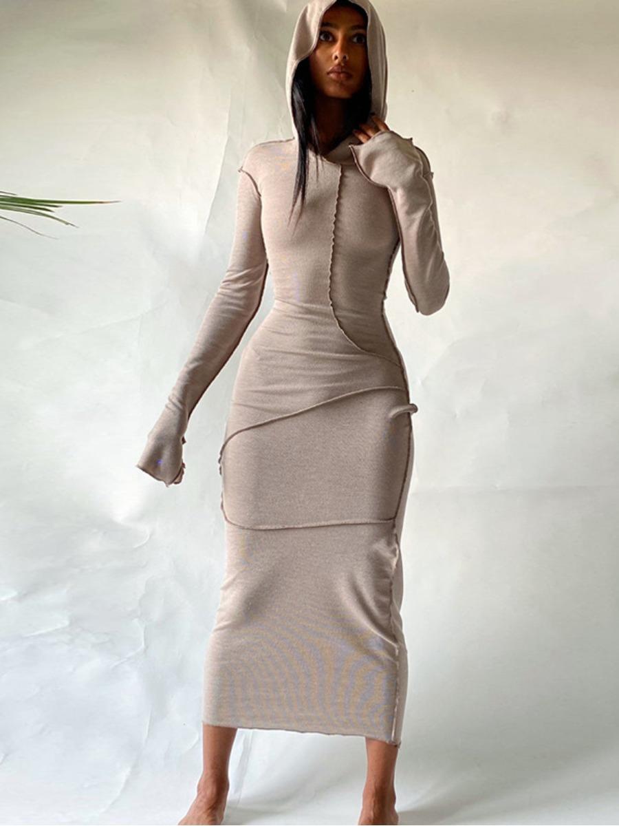 Lovely Hooded Collar Bodycon Dress