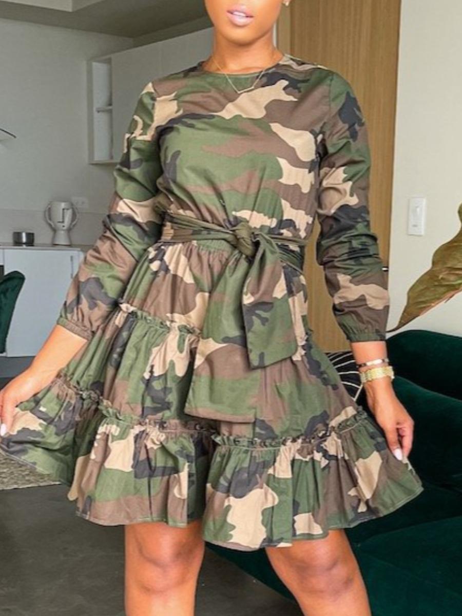 LW Camo Print Bandage Ruffle Design A Line Dress