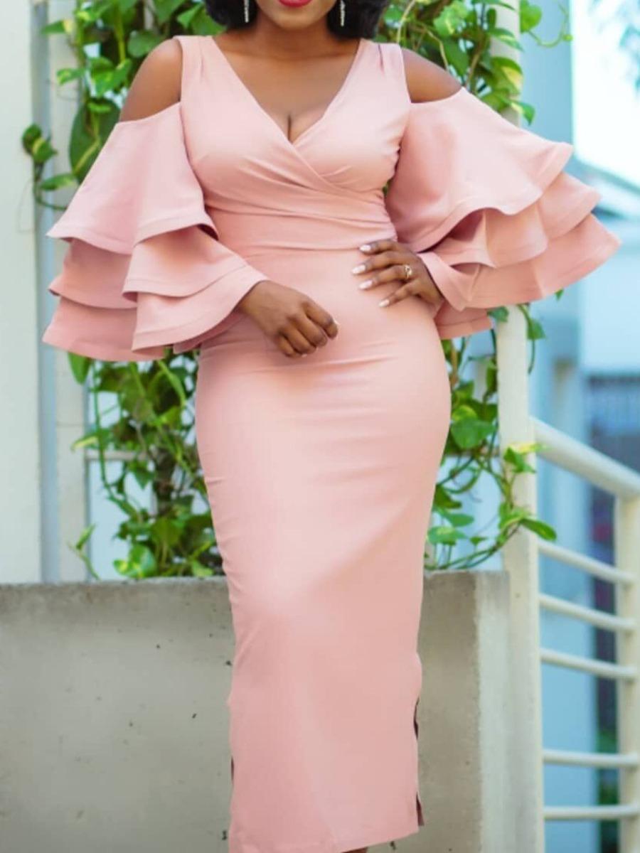 LW Layered Cascading Flounce Design Dress