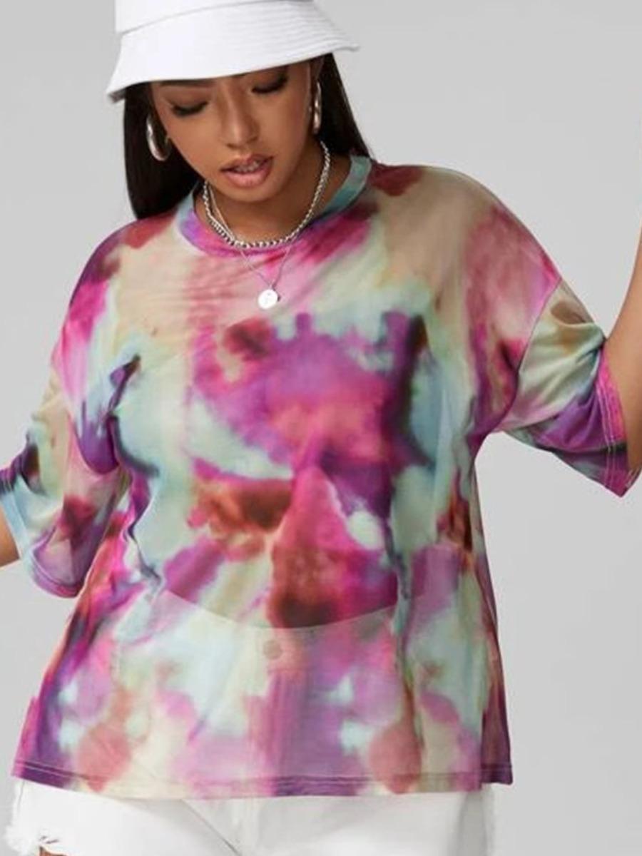 Lovely Plus Size Dropped Shoulder Tie-dye T-shirt