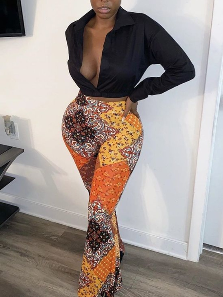 Lovely Mixed Print Flared Pants