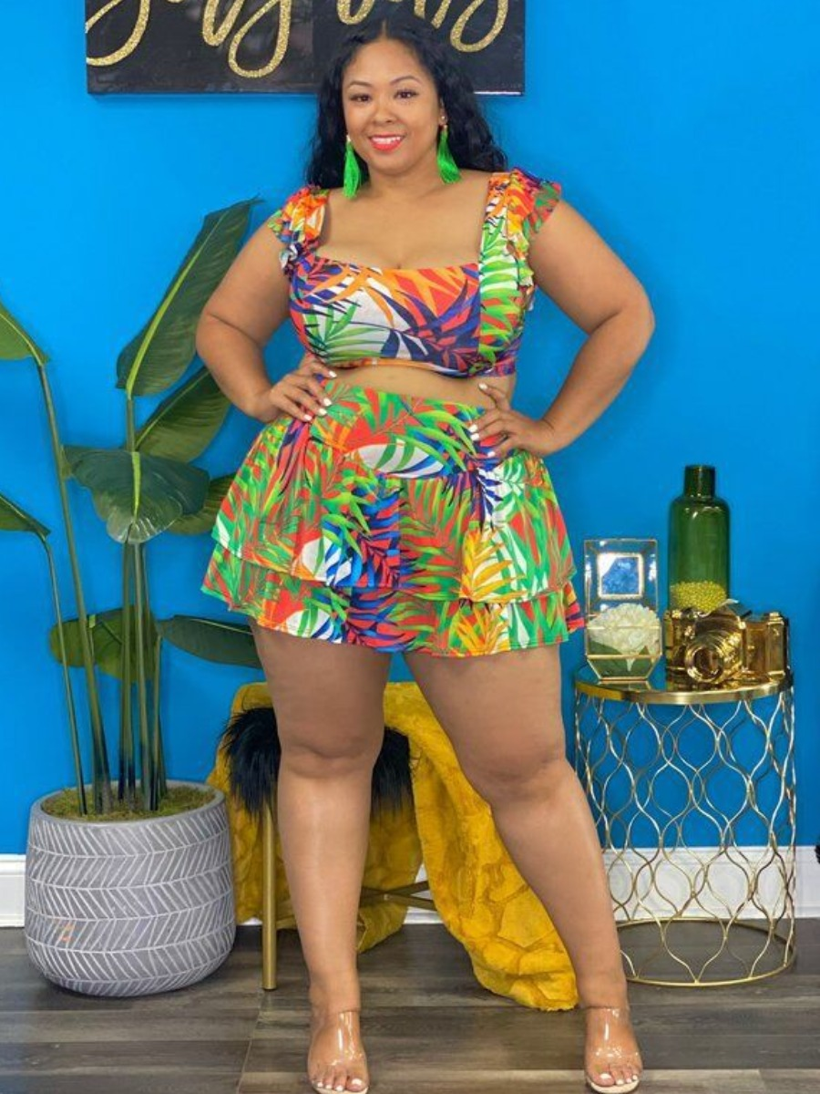 Lovely Plus Size Floral Print Layered Cascading Skirt Set