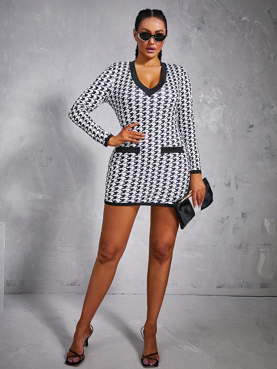 Lovely Casual V Neck Print Black Mini Dress