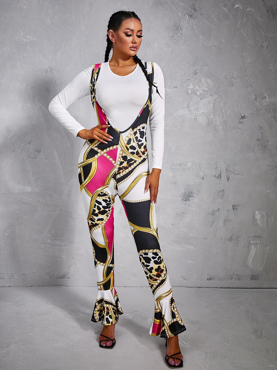 LW Trendy O Neck Versace Print Black Two Piece Pants Set(Batch Print)