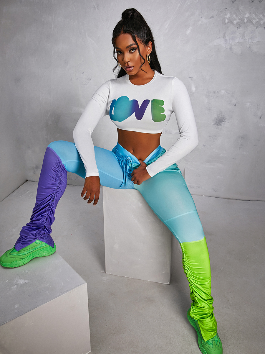 LW Letter Print Color-lump Patchwork Ruched Slit Pants Set