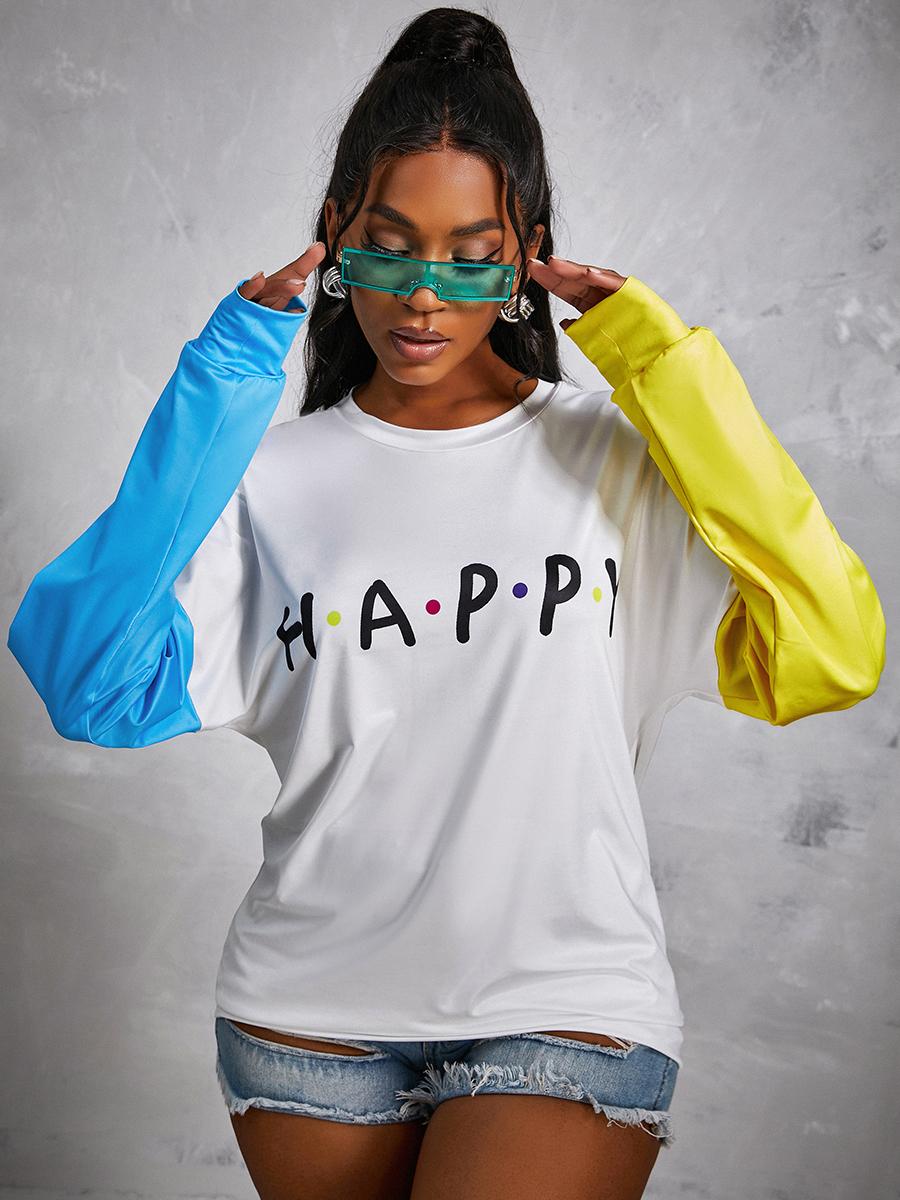 LW Dropped Shoulder Letter Print Sweatshirt