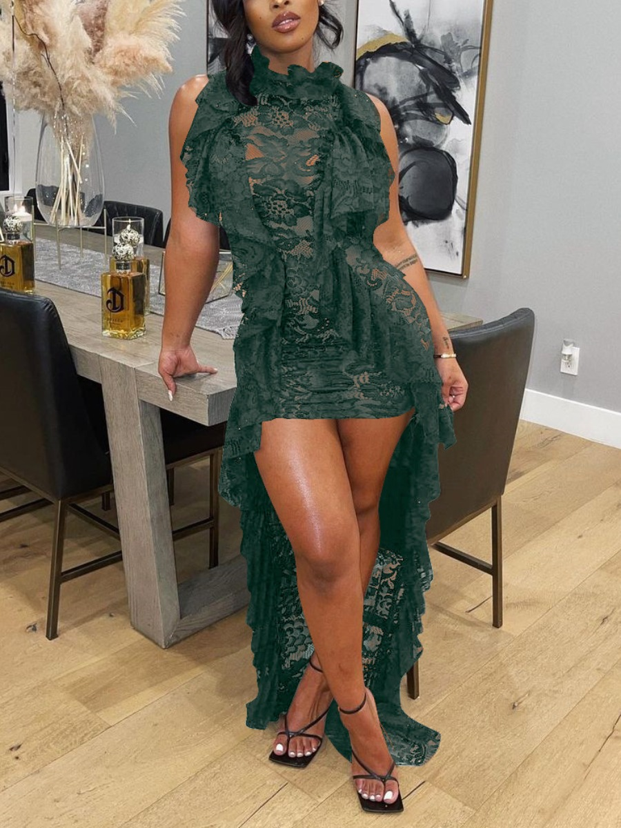 LW See-through Flounce Design  Asymmetrical Prom Dress