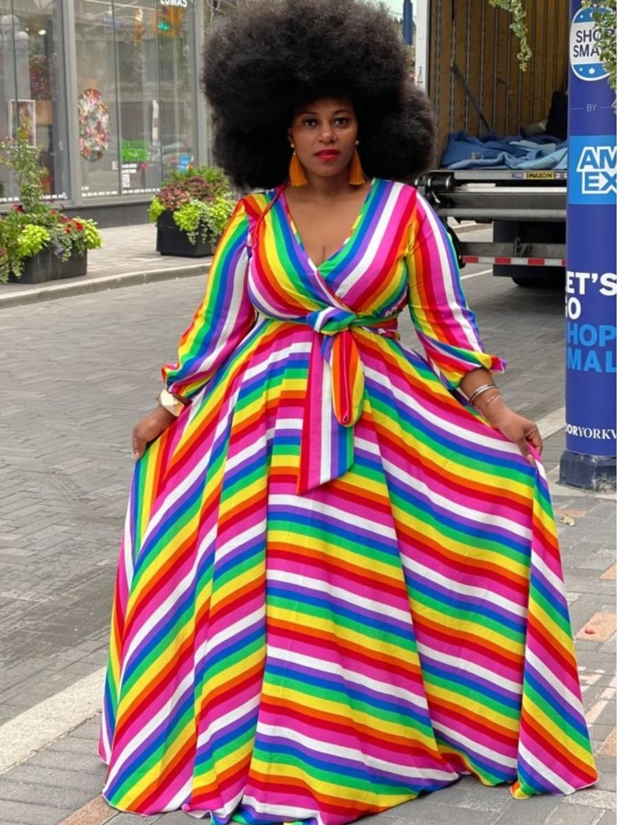 LW Plus Size Striped A Line Dress