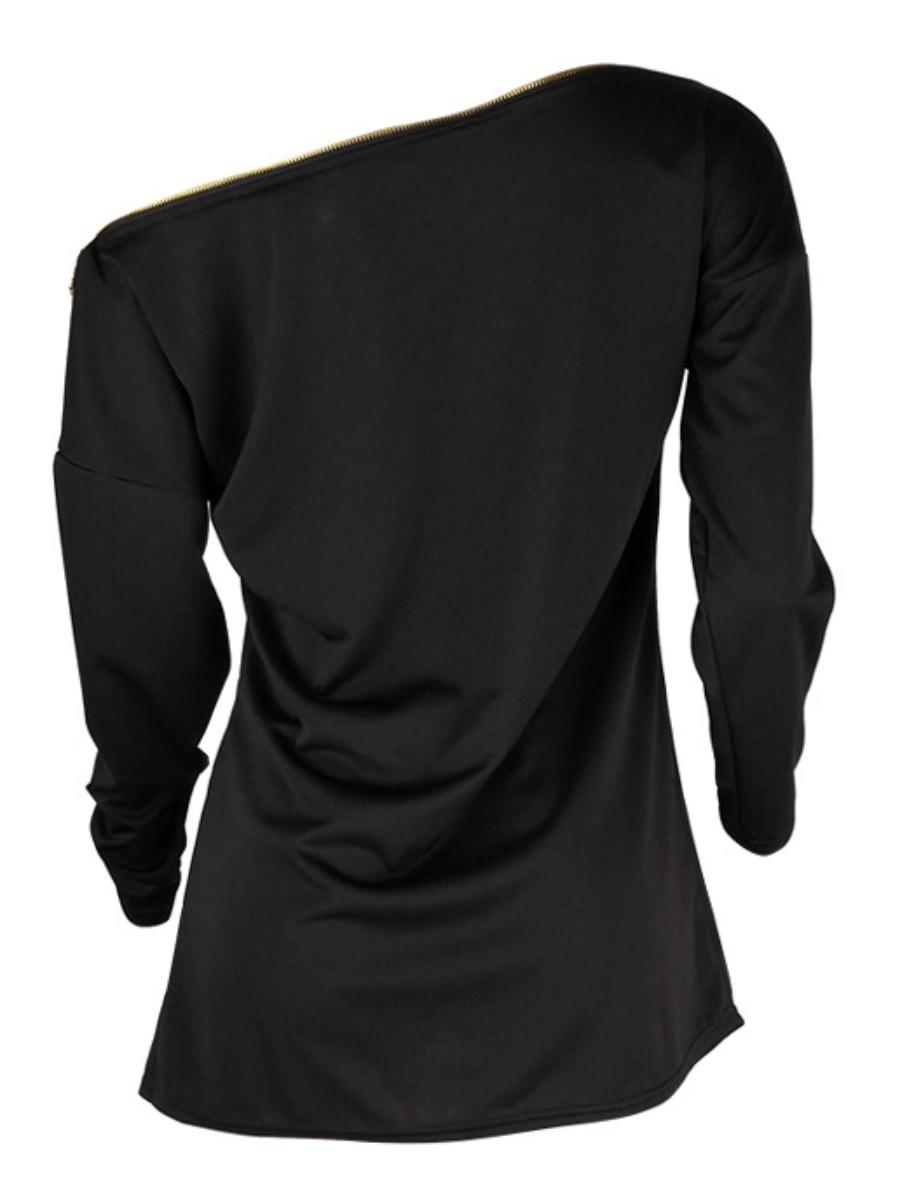 Lovely Polyester Casual Solid Drop Shoulder Basic Regular Regular One Shoulder Solid Color &