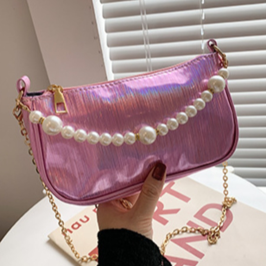Lovely Pearl Decoration Chain Strap Crossbody Bag
