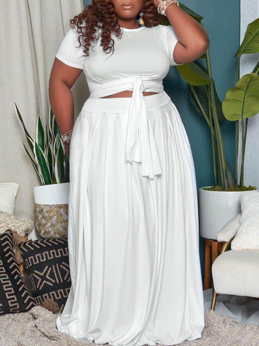 LW BASICS Plus Size Bandage Fold Design Skirt Set