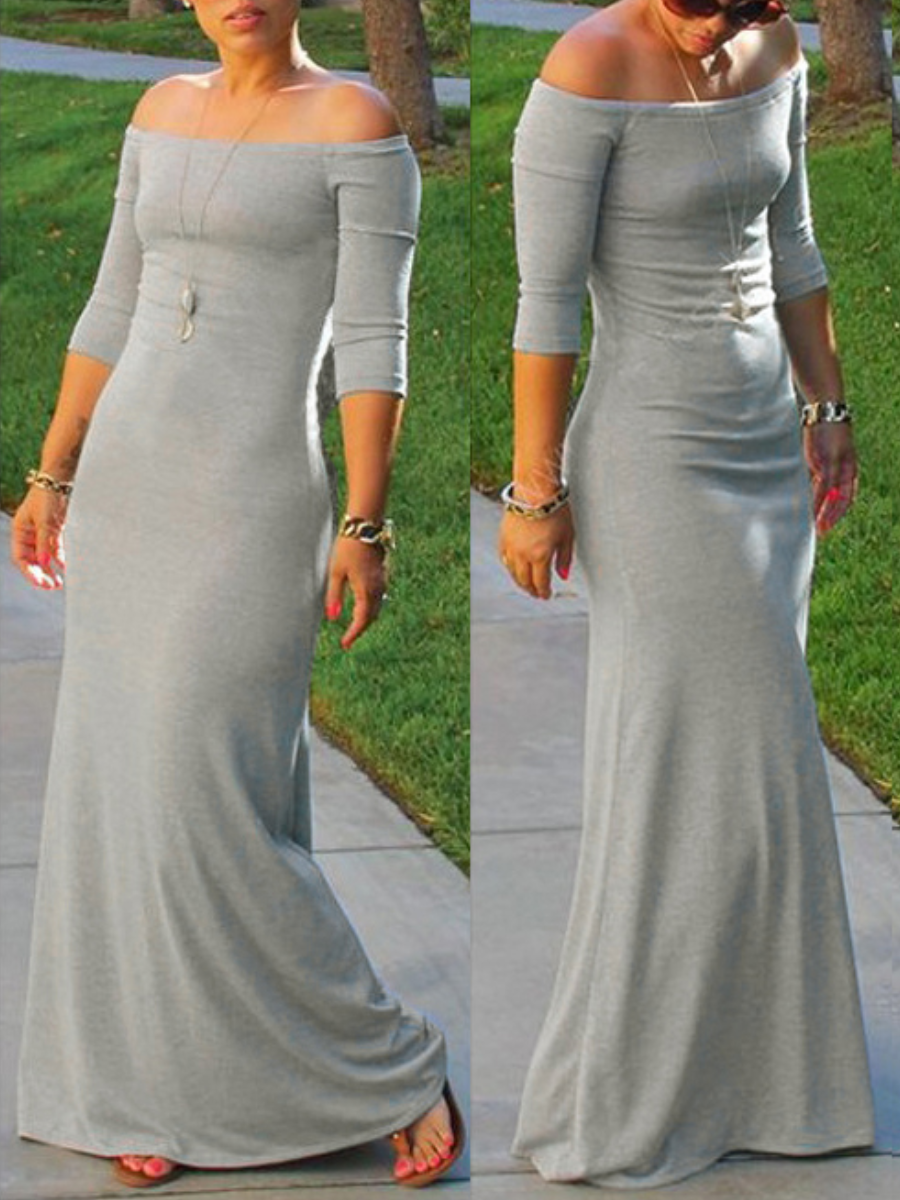 Lovely Bohemian Dew Shoulder Light Grey Maxi Dress