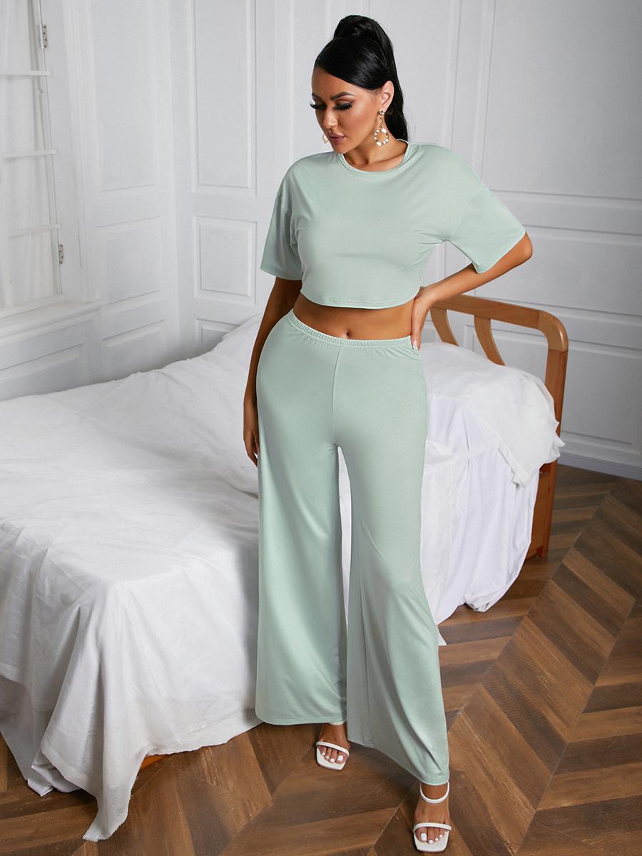 LW Wide Leg Crop Top Two Piece Pants Set