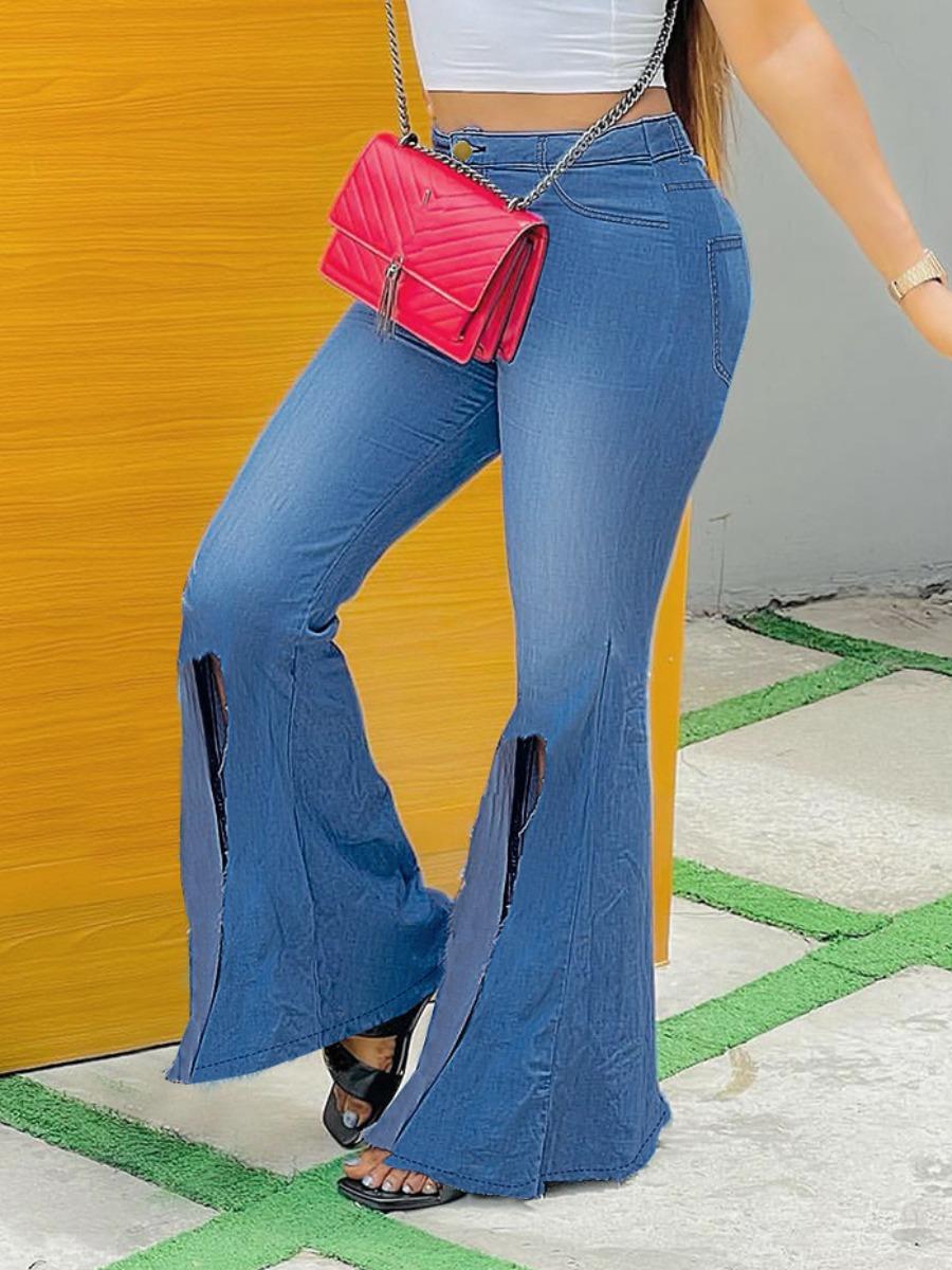 LW High-waisted Slit Flared Jeans