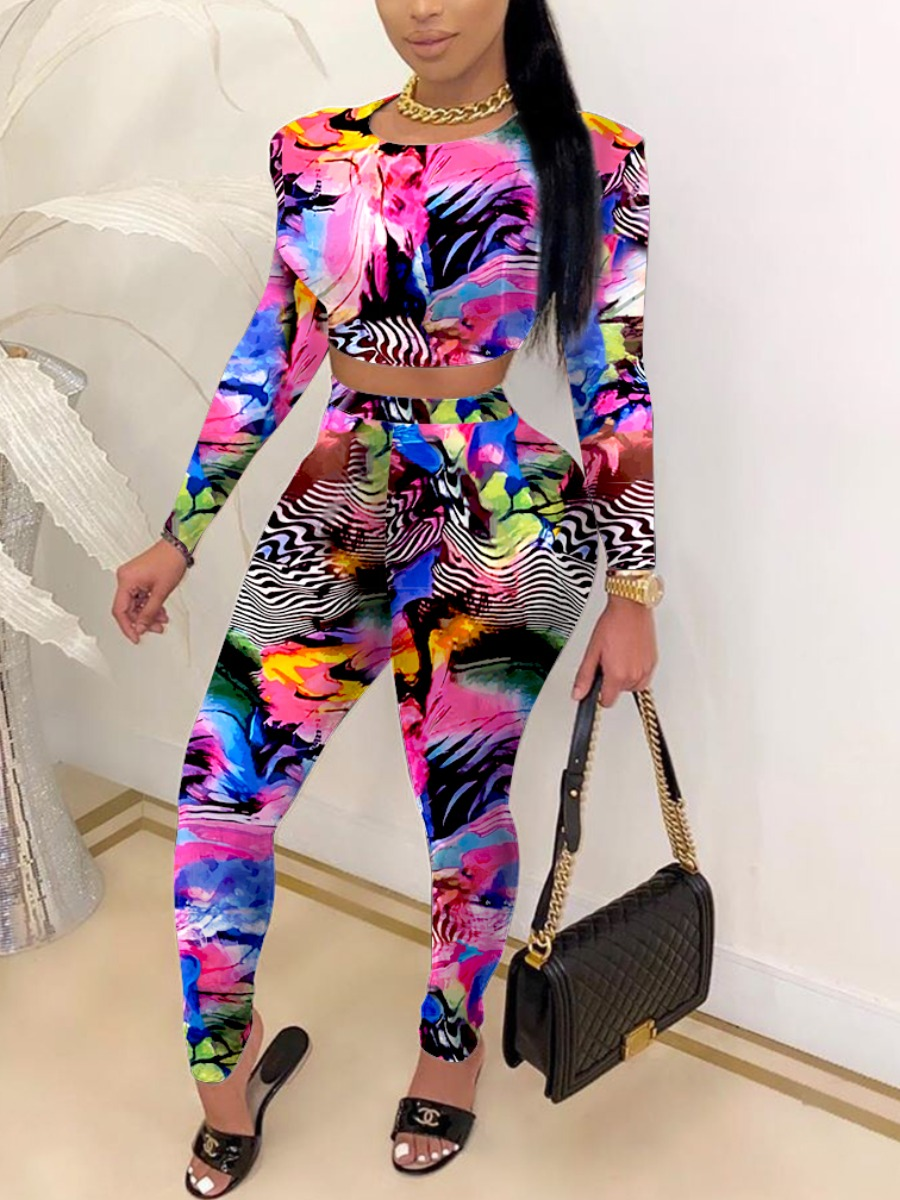 LW Trendy O Neck Print Skinny Pink Two Piece Pants Set(Batch Print)
