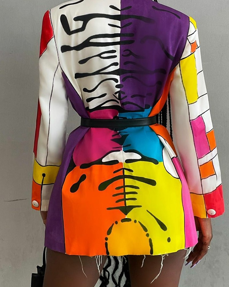 LW Color-lump Patchwork Blazer (Without Belt)