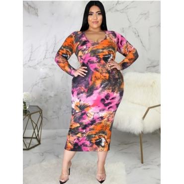 LW Plus Size Tie-dye Slit Dress