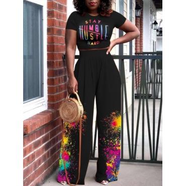LW Street Letter Print Splash-ink Design Black Two Piece Pants Set