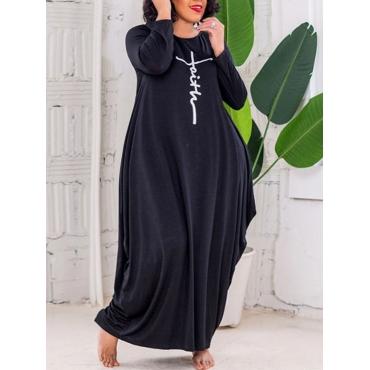 LW Plus Size Faith Drawing Letter Print Dress