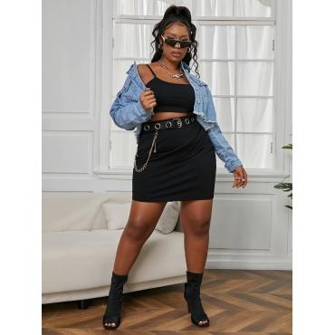 Lovely Plus Size Casual U Neck Basic Skinny Black Two-piece Skirt Set
