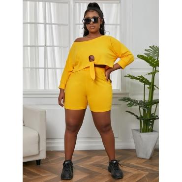 Lovely Plus Size Casual Round Neck Bandage Design Yellow Two-piece Shorts Set