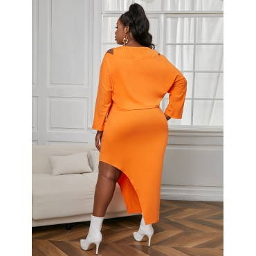 Lovely Plus Size Casual Dropped Shoulder Slit Croci Two-piece Skirt Set