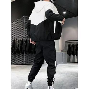 LW Men Sportswear Hooded Collar Patchwork Black Two-piece Pants Set