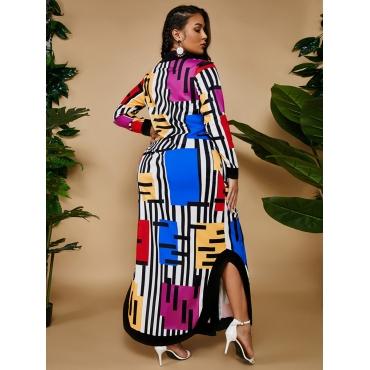 LW Plus Size Color-lump Patchwork Dress (Without Belt)