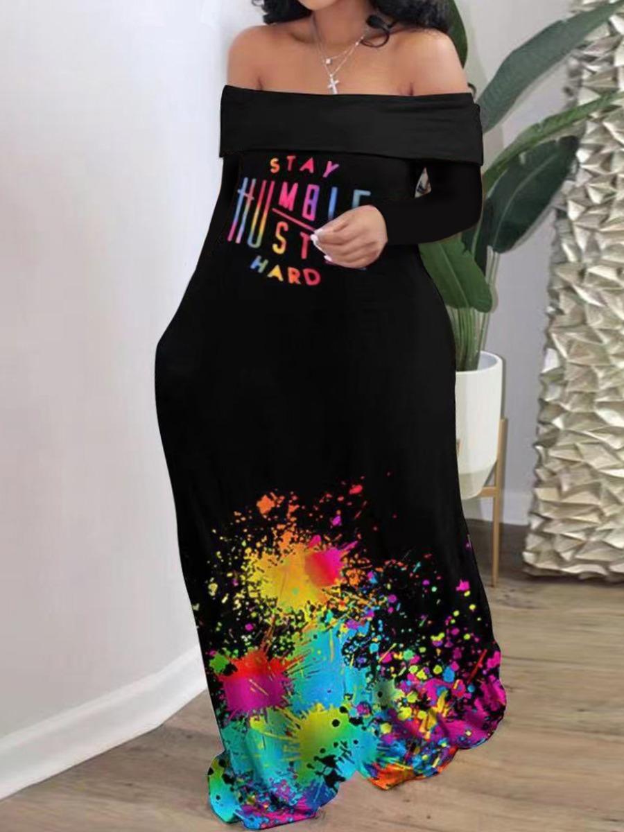 LW Off The Shoulder Splash-ink Design Dress