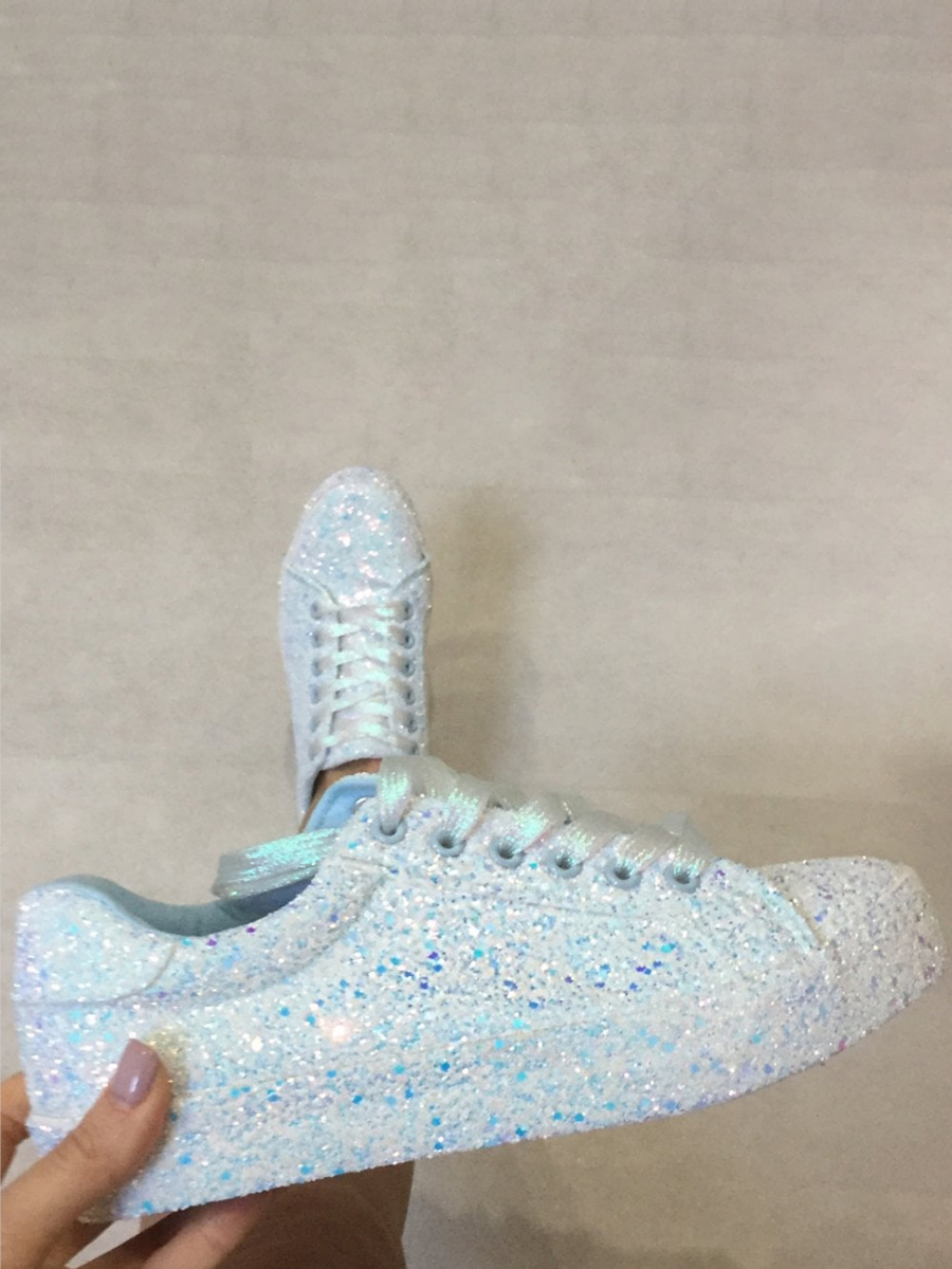 LW Sequined Lace-up Flats