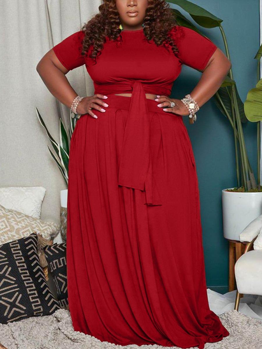 LW BASICS Plus Size Fold Bandage Design Skirt Set