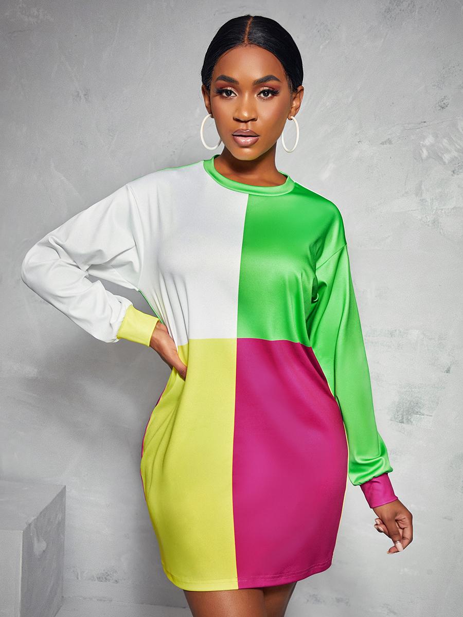 LW Dropped Shoulder Color-lump Sweater Dress